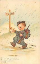COMIC MILITARY SOLDIER CHILD WITH GUN AND PICTURE OF GIRL ITALY POSTCARD c. 1915