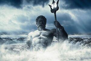 POSEIDON GREEK GOD OF THE SEA CANVAS PICTURE PRINT WALL ART UNFRAMED #2284
