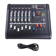 Pro 6 Channel Powered Audio Mixer Power Mixing DJ Amplifier Amp w/ USB Slot