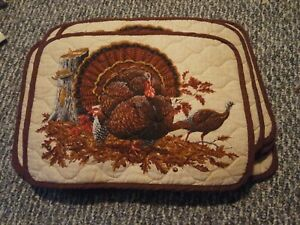 Vintage 12 reversible Placemats Thanksgiving Harvest Turkeys quilted