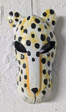 Leopard Mask Small Wooden Wall Hanging Hand Carved