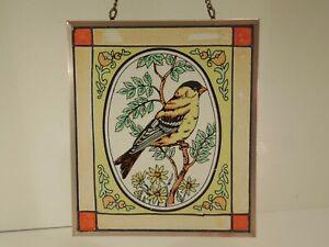 Fensterbild Glas Bleiverglasung Hinterglasmalerei Vogel  18x15 Fensterdeko antik