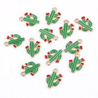 10Pc Enamel Cactus Charm Pendant DIY Necklace/Bracelet Ornament Making Accessory
