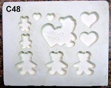 Vintage 1987 Gare #1186 Christmas  Bears & Hearts Ornaments Ceramic Mold (C48)