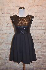 6ff3cfadfa Modcloth Licorice Luster Dress Black S sequin Skater Knit Fit   flare V-back