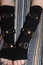 TRIPP Nyc GLOVES gothic hot topic arm warmers fingerless gold black