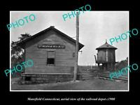 OLD LARGE HISTORIC PHOTO OF MANSFIELD CONNECTICUT THE RAILROAD STATION c1900