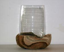 Leonardo - Windlicht/Vase mit Teakholzsockel  (X)