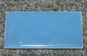 "Vintage Wheeling Ceramic Tile Trim Piece Blue Light Sky Subway 4 1/4"" X 2 3/16"""