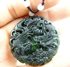 100% Chinese jade hand-carved the statue of  dragon and phoenix  PENDANT E-2