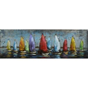 3D Metallbild Segelboote klein Wandbild Metall Bild Wandrelief