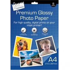 8 x A4 Carta fotografica lucida Premium di alta qualità bianco lucido stampa 210gsm 210 x 29