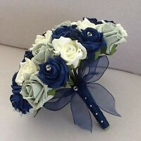 WEDDING FLOWERS ARTIFICIAL IVORY/NAVY/SILVER FOAM ROSE WEDDING BRIDES BOUQUET