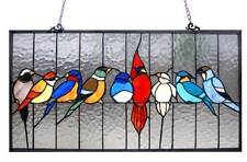 Stained Glass Chloe Lighting Family Of Birds Window Panel CH1P543RA25-GPN