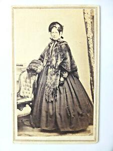 CDV Cabinet Photo Civil War Era Pretty Lady Fine Hoop Fashion Fur Jacket Bonnet