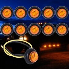 10X Amber Round LED Front Rear Side Marker Indicator Light For Car Truck Boat