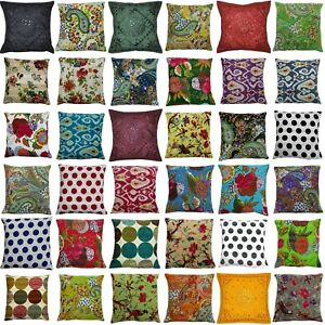 Indian Handmade Cotton Kantha Assorted Pillow Cushion Cover Bed Decor Sofa Throw