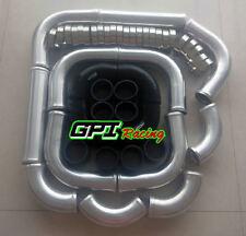 "3"" Aluminum Universal Intercooler Turbo Piping + Black hose + T-Clamp kits 12pcs"