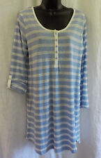 Tommy Hilfiger Nightgown Size L NWT Blue Stripe Cotton Blend Long Sleeves Adjust