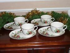 Lenox HOLIDAY TARTAN Set of 4 Fluted Cup & Dessert Plate Sets~ Beautiful