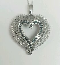 *STERLING SILVER RHODIUM PLATED BLUE/WHITE DIAMONDS 2CTTW WITH LONG LINK CHAIN*