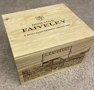 Beautiful burgundy wine Wooden Box - Empty Box Holds 6 bottle - Domaine Faiveley
