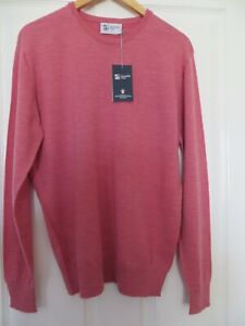 JOHNSTONS OF ELGIN MADE IN SCOTLAND PINK WOOL SWEATER JUMPER NEW WITH TAG