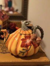 Blue Sky Ceramics Thanksgiving Pumpkin Harvest Tea Pot Teapot Nwt