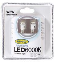 W5W 12v 5w 501 LED SMD Car Sidelight Bulb PAIR 6000k Ice White Ring RW5016LED