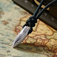 Unisex's Men Silver Metal Totem Bullet Pendant Necklace Rope Chain Jewelry Gifts