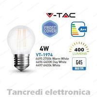 Lampadina led V-TAC 4W E27 VT-1974 G45 frost bianca filamento lampada opaca bulb
