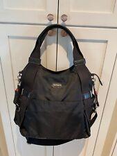 Storksak London Baby Diaper Travel Bag Black Nylon/ Leather Excellent