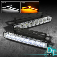 Super White Daytime DRL Led Running Bumper Lights Lamps w/Signal Function
