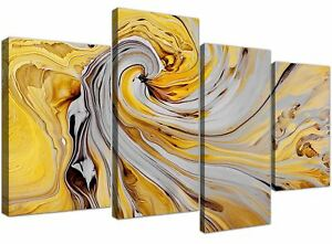 Large Mustard Yellow And Grey Spiral Swirl - Abstract Canvas Multi 4 Part - 4290