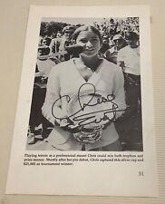 CHRIS EVERT Tennis Legend Autograph 6x9 Photo Page Authentic