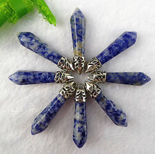 8pcs Beautiful Sodalite  carved Hexagon cylindrical pendant bead BC2385