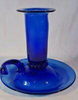 Vintage Glass Cobalt Blue Candle Stick Holder Finger Hole Hand Blown Blenko?