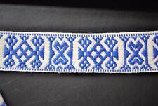 Swedish Folk Art Woven Ribbon Wide Blue & White 1.57