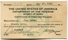 """1949 U.S. """"Bureau of Mines"""" First-Aid Training Completion """"Certificate Card"""""""