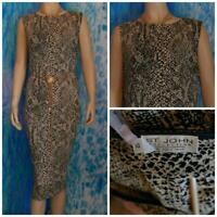 ST. JOHN Collection Black Beige Dress L 14 12 Sleeveless Sheath Snake Print