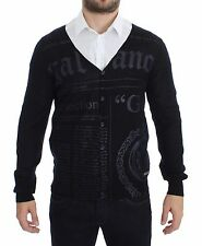 NEW $360 GALLIANO Black Wool Button Down Logo Cardigan Sweater Pullover Top XXL