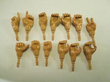 """Vintage Lot of 13 Doll Hands to Fit Military Adventure Action Figures 12"""" Tall"""