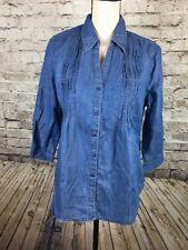 Womens Gloria Vanderbilt Giselle Pintuck Roll Tab Sleeve Shirt Denim Blue M