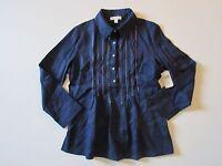NWT Coldwater Creek Blue Stitch Detail Linen Button Down Pleat Tuck Shirt PS 6/8