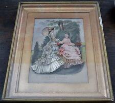 Beautiful Antique Framed Embellished French Fashion Print Signed *