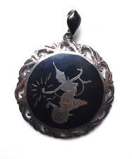 Sterling Silver Pendant Enamel Vintage 1930s Siamese Niello Mekkala