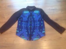 Ladies Long Sleeved Black, Blue & Turquoise Patterned Blouse Size 12 George
