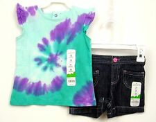 Girls Summer Outfit Tie Dye Top/Denim Shorts Sz 18 months Jumping Beans NWT