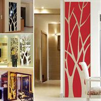 Mirror Style Acrylic Wall Sticker  Modern Adhesive Tree Mural Art Decor Decals