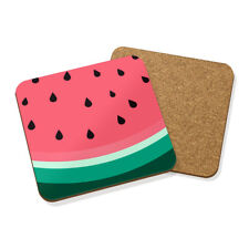 SLICE OF SUMMER WATERMELON DRINKS COASTER MAT CORK SQUARE SET X4 - Fruit Juicy